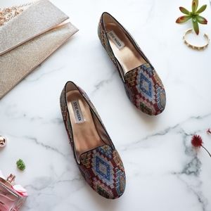 STEVE MADDEN textile ikat tribal smoking slippers